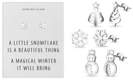 Up to Three Pairs of Philip Jones Sterling Silver ChristmasThemed Earrings