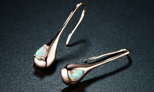 Peermont White Fire Opal Teardrop Earrings in 18K Rose Gold Plating
