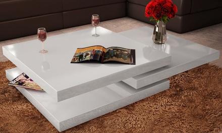 Table basse carrée pivotante 3 plateaux