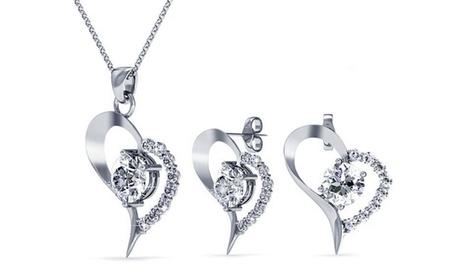 1 o 2 sets de pendientes y colgante en forma de corazón con cristales Swarovski®
