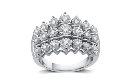 1/2 CTTW Diamond Three Row Anniversary Ring in Sterling Silver by DeCarat