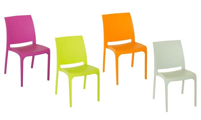 Sedie In Polipropilene Da Giardino.Set Di 4 Sedie In Polipropilene Groupon