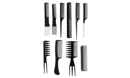 TenPiece Vivo Hair Styling Comb Set with Carry Case