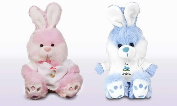 800Bear.com: One or Two Personalized Stuffed Easter Bunnies in Pink or Blue from 800Bear.com (45% Off)