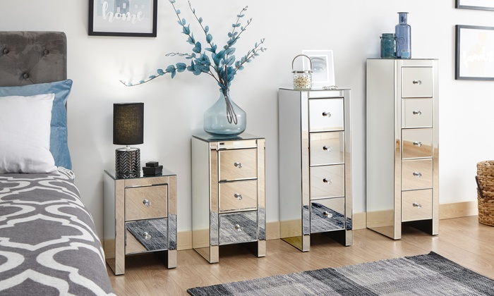 One or Two Sophia Mirrored Bedside Chests in Choice of Option from £69.98