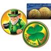 Leprechaun and Four Leaf Clover Lucky Genuine 2016 JFK Half Dollar