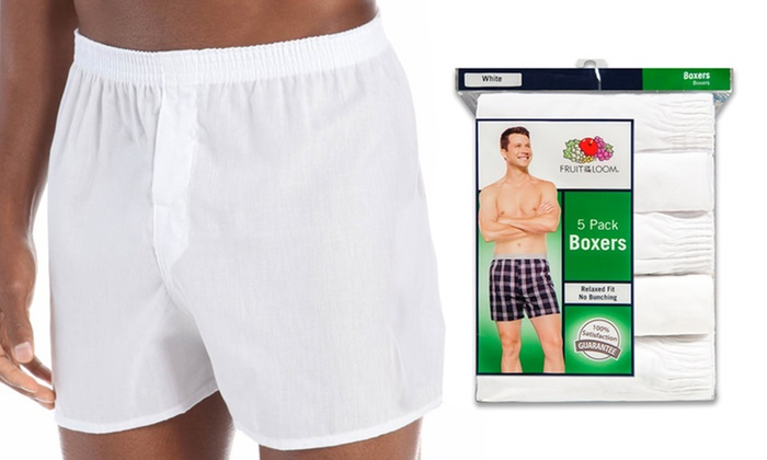 Fruit of the Loom Mens 5Pack White Boxer Shorts Boxers Underwear 3XL