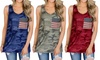 Leo Rosi Women's American Flag Camo Tank. Plus Sizes Available.
