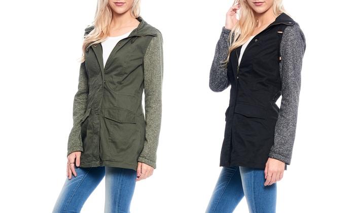 Women's Double-Closure Parka Jacket with Cotton Melange Hood