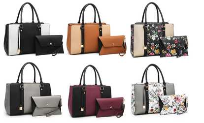 fe6c535a5473f1 Shop Groupon MK Belted Collection Medium Satchel Handbag and Wristlet Set  (2-Piece)