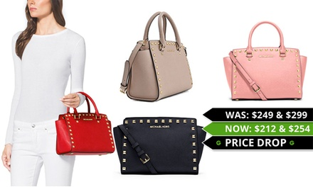 849df0baefaa Michael Kors Selma Studded Saffiano Leather Messenger Bag $212 or Satchel  $254