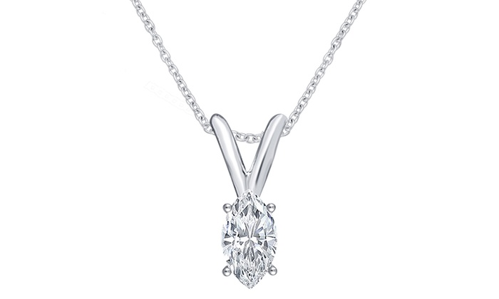 Up to 61 off on 12 cttw diamond pendant groupon goods 12 cttw marquise diamond pendant in 14k white gold aloadofball Gallery