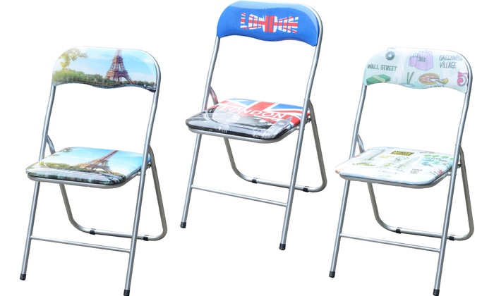 Set of Six City-Themed Foldable Kitchen Chairs