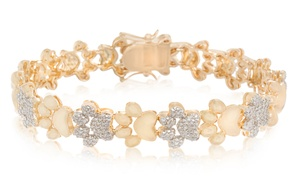 Diamond Accent Dog Paw Bracelet in 14K Yellow Gold by Diamante