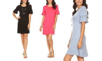 Nelly Women's Ruffle-Sleeve Dress. Plus Sizes Available.