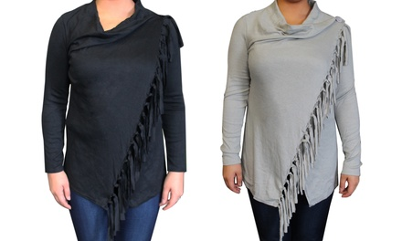 Ladies Wrap Fringed Cardigan Including Delivery