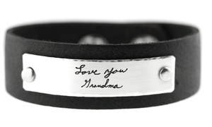 Up to 51% Off Actual Handwriting on Leather Cuff Bracelet