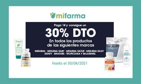 Paga 1€ y consigue un 30% de descuento en productos de las marcas Mifarma, Skinfy, Binature, Tropicania y Balasense