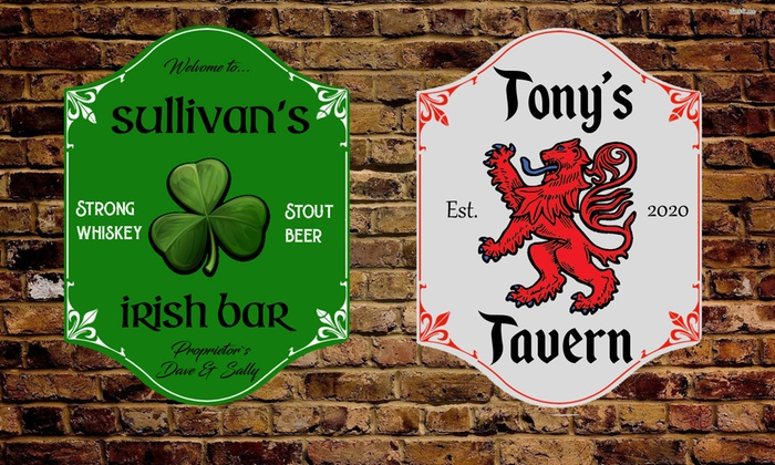 Personalised Small or Large Home Pub Sign from Gallery 51 (Up to 75% Off)