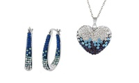 Necklace and Set of Hoop Earrings Set with Swarovski Elements Crystals (Shipping Included)