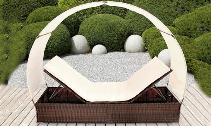 transat avec parasol int gr groupon. Black Bedroom Furniture Sets. Home Design Ideas