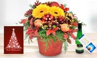 Weihnachtliches Blumengesteck nach Wahl mit Lindt Schokolade, Perlwein und Grußkarte von Bluvesa (44% sparen*)