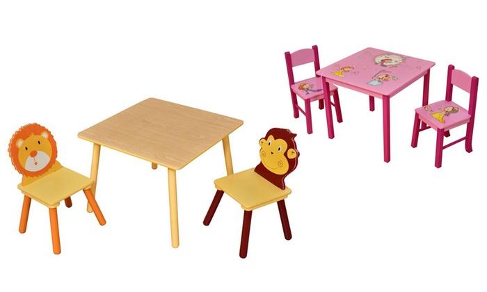 table pour enfant avec 2 chaises groupon shopping. Black Bedroom Furniture Sets. Home Design Ideas
