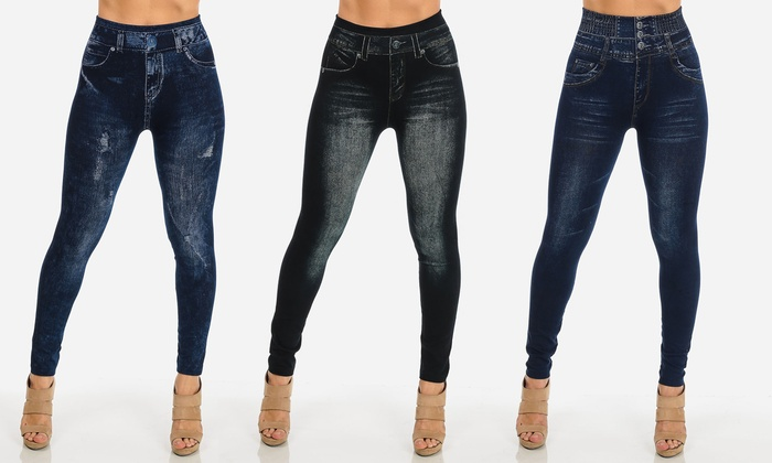High-Waist Junior Jeggings with Distressed Look (3-Pack)