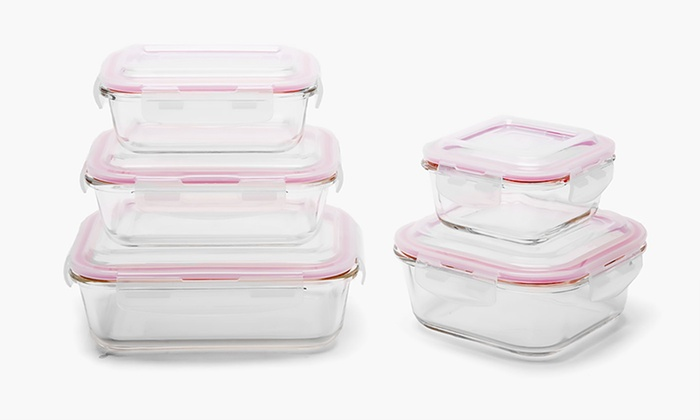 Wexley Glass Food Storage Container Set 8 10 14 or 20 Piece