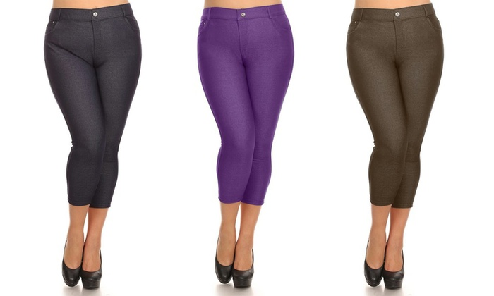Women's Capri Jeggings in Plus Sizes: Women's Capri Jeggings in Plus Sizes