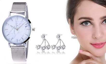 Silver Shine Earrings, Marble Dial Watch or Set