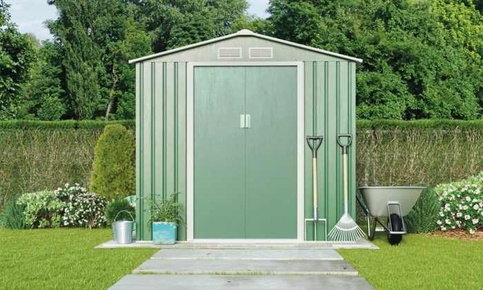 Metal apex sheds in two sizes groupon for Garden shed sizes