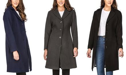 Haute Edition Women's 3/4 Walker Wool Blend Coat. Plus Sizes Available.