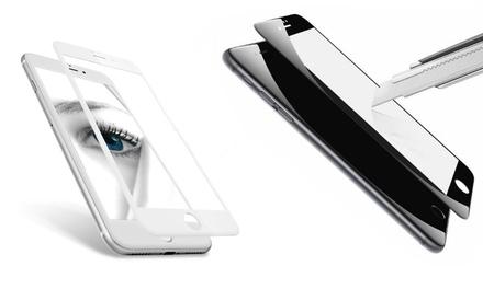 1 ou 2 films protecteurs en verre trempé 4D pour iPhone 5/5S/SE/6/6S/6+/6S+/7/7+, noir ou blanc, dès 9,95 €