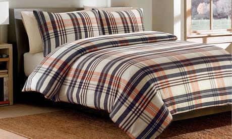 Juego de edredón Flannel Check con 1 o 2 fundas de almohada