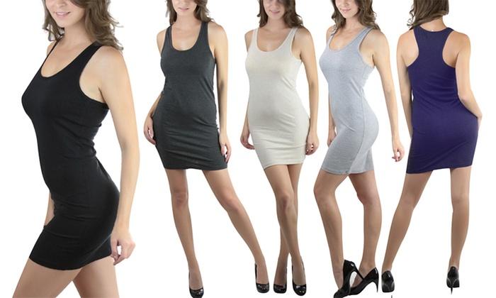 Women's Bodycon Racerback Mini Dress: Women's Bodycon Racerback Mini Dress