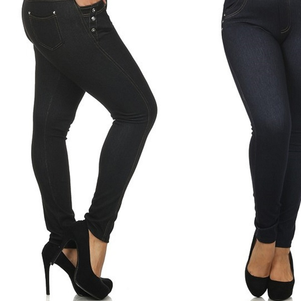 cffe5d76289aa Women's Plus-Size 4-Pocket High-Waist Jeggings (3-Pack)   Groupon