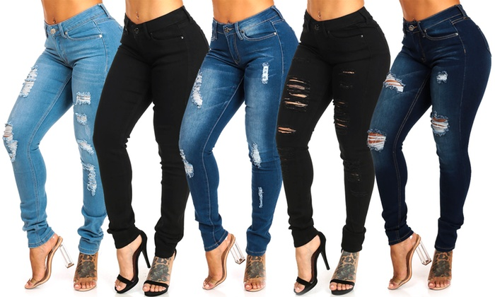 ff2a6d215edc Up To 71% Off on Junior Mid-Rise Skinny Jeans | Groupon Goods