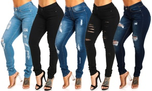 a23e3b868e Junior Mid-Rise Stretch Ripped or Plain Skinny Jeans