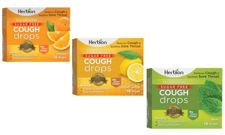 Herbion Naturals Sugar Free Cough Drops (6-Pack) - Orange, Lemon, or Mint
