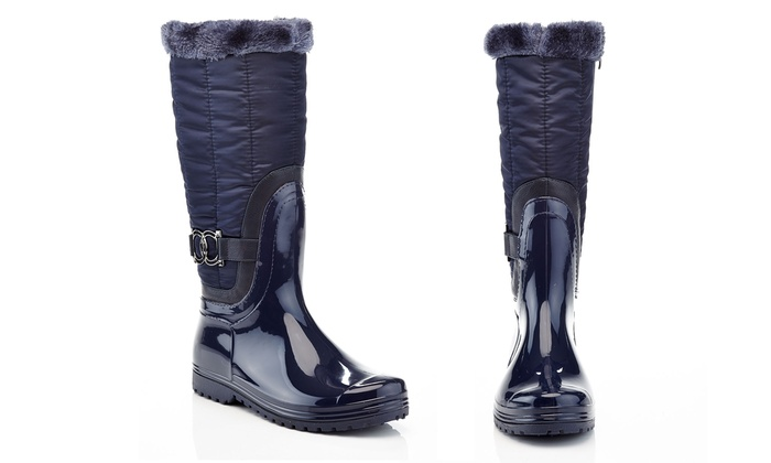 320e14ff654 Knee-High Puffer Quilted Fur-Lined Waterproof Winter Boots (6   7 ...