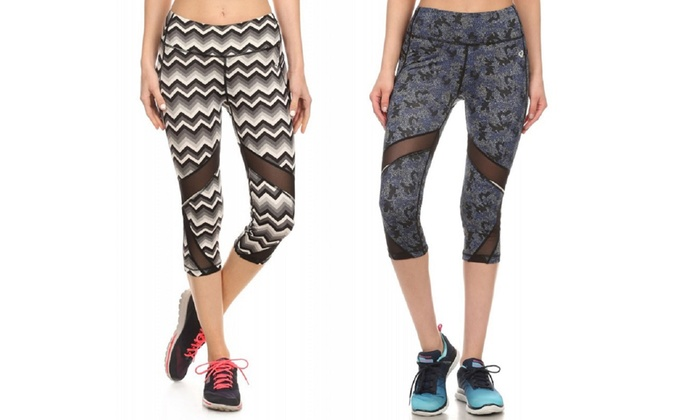 Women's Active Leggings with Mesh Panels