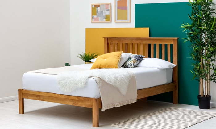 Solid Oak Wooden Bed Frame with Optional Deep Sprung Mattress (£250)