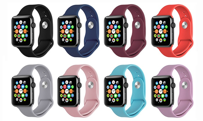 Silicone Sport Replacement Band for Apple Watch Series 1, 2, & 3
