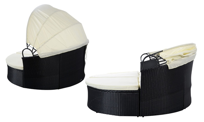 Outdoor Round Retractable Canopy Day Bed Sofa In Black Wicker Rattan