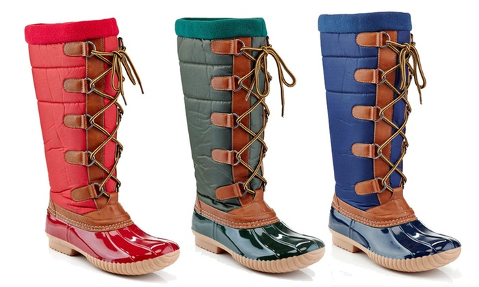 dfe85375808 Women s Knee-High Quilted Waterproof Duck Boots with Warm Lining ...