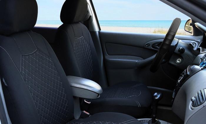 Universal Fit Diamond Stitched Bucket Car Seat Cover Set 4 Piece