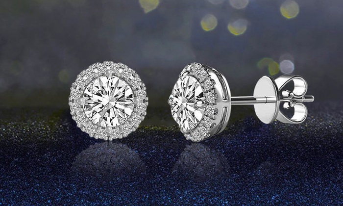3 44 Cttw Halo Stud Earrings With Swarovski Elements