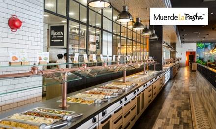 Buffet libre italomediterráneo con bebidas ilimitadas, isla de postres y cafés para 2 desde 9,90 € en Muerde la Pasta