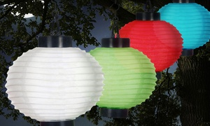 Pure Garden Outdoor Solar-Powered Chinese Lantern LED Lights (4-Pack)